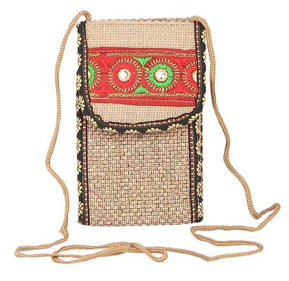Rajasthani purse made up of jute with beautiful embroidery work on it, comes with a string to use it as sling bag.