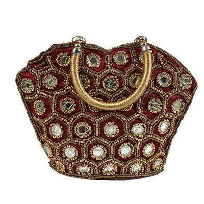 Rajasthani handbag decorated with mirror work, embroidery, beads and sequins.