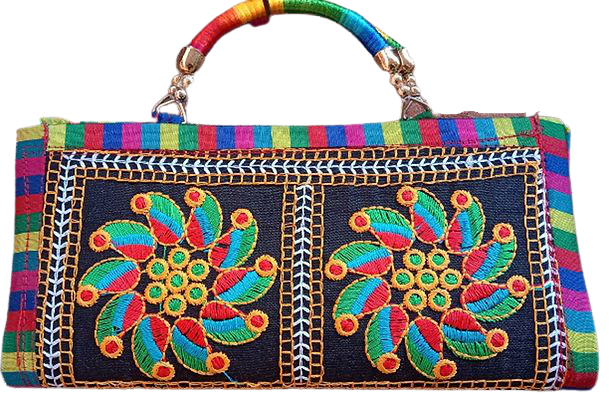 Clutch Bag with patchwork designed by rural artists from Rajasthan.