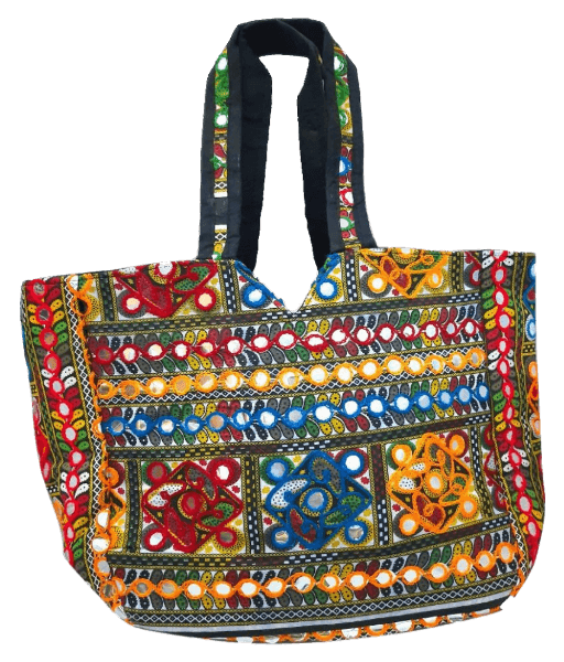 Handcrafted Rajasthani handbag with mirror work.