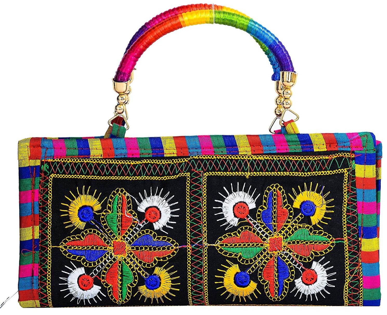 Rajasthani Clutch bag is a little handy purse with zipper. The rectangular shaped clutch has fancy embroidery on both sides.